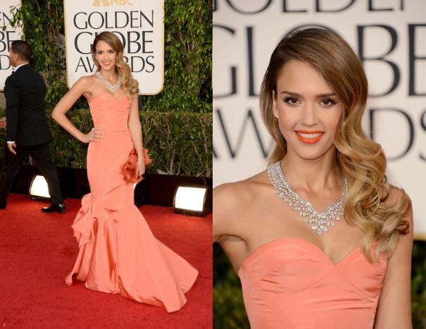 Jessica-Alba-Orange-Oscar-de-la-Renta-Pre-Fall-2013-collection-strapless-gown-Harry-Winston-diamond-bib-necklacec-2013-golden-globe-awards-